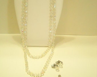 Vintage Austrian Crystal Parure (8787**) Two Necklaces & Clip Dangle Earrings, 8mm Crystals