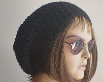 READY SHIP Womens hat - chunky knit Slouchy black  Beanie Slouch Hat Fall Winter Accessories Beanie Autumn