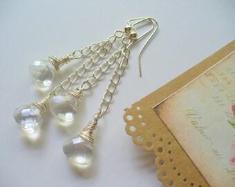 Long Dangle Earrings, Clear Crystal Earrings, Elegant Long Dangle Earrings, Beaded Earrings, Dangle Earrings, Silver Jewelry, DLAbeaddesign