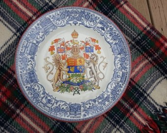 Rare Wedgwood Dominion of Canada Wedgwood Plate, 1923, Blue English Transferware