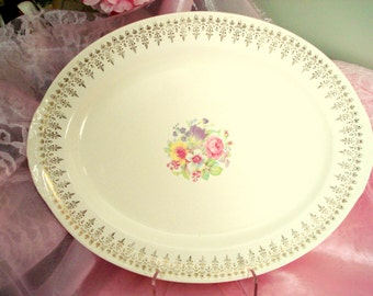Vintage Platter Homer Laughlin Eggshell Nautilus Floral Large Oval Turkey Ham Platter Shabby Cottage Chic