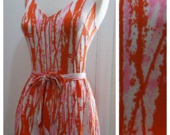 SALE / Vintage 1950s 1960s Skirted Playsuit Swimsuit / Tree Branch Pattern / Vintage Size 16