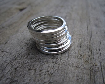 Set of Stacking Sterling Silver Band Rings - Solid Sterling - Minimalist - Stacking Ring