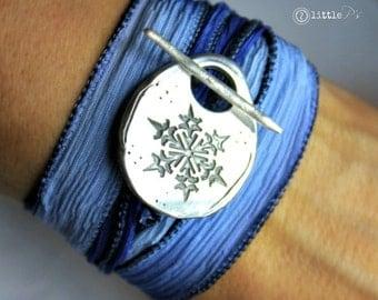 READY to SHIP  SALE - Snowflake Wraps, Frozen Jewelry, Winter Silk Wrap Bracelet, Ski Bracelet by 2 little P's