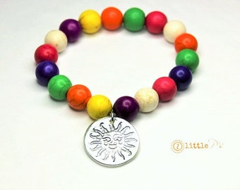 Sun Bracelet, Mulitcolored Beaded Sun Bracelet, Gift for Her, Sun Charm