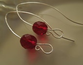 Ruby Red Czech Beads and Sterling Silver Earrings