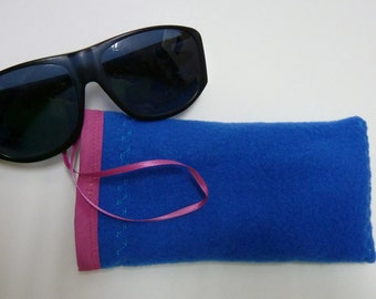 Glasses Pouch, Sun Glasses Case in Royal Blue with Hot Pink Trim and Satin Ribbon Sling