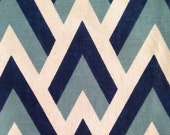 Navy Blue Chevron - Zig Zag Fabric Blue - Chevron Upholstery Yardage - Blue White Fabric - Chevron Cotton Curtain Material