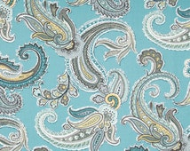 Blue Paisley Fabric - Printed Cotton Upholstery Fabric for Furniture - Modern Blue Paisley Curtains - Blue Yellow Grey Paisley Headboard