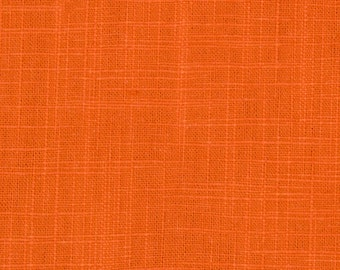 ON SALE - Orange Cotton Slub Upholstery Fabric