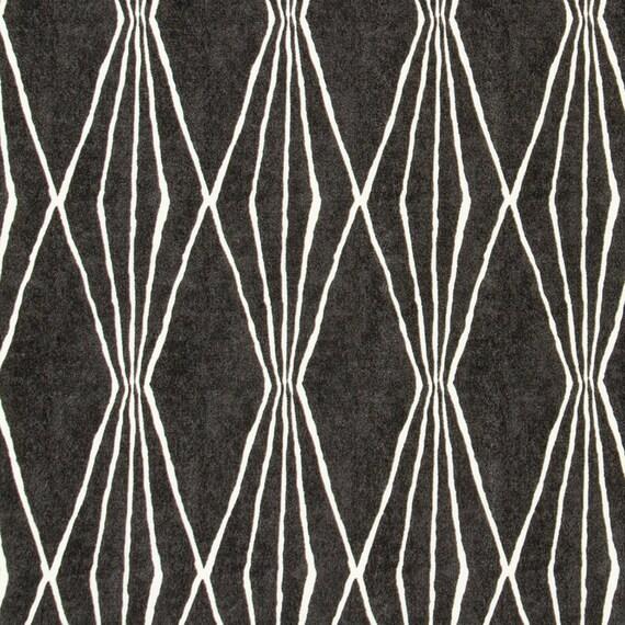 Dark Grey Cotton Curtain Fabric Grey White By Popdecorfabrics
