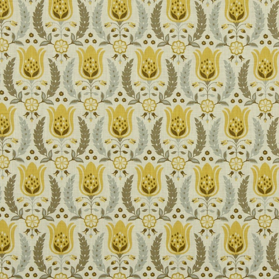 Yellow Grey Upholstery Fabric Floral Drapery By Popdecorfabrics