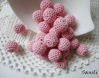 12 pcs - 13 mm beads-crocheted bead-pink beads-round beads-crochet ball beads-beads crochet-embellishment-wooden crochet cotton yarn beads