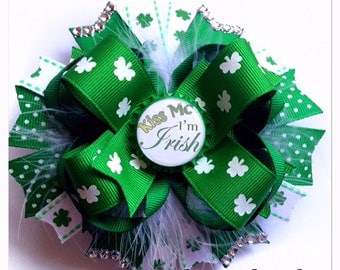 St. Patrick's Day Hair Bow - Kiss Me I'm Irish Boutique Bow - St. Patrick's Bow