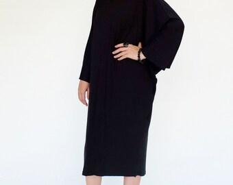 NO.160 Black Cotton-Blend Jersey Batwing 3/4 Sleeve Round Neck Dress, Little Black Dress, Day Dress