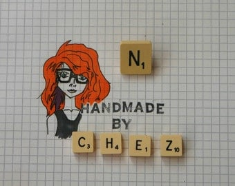 N Scrabble Tile Pin