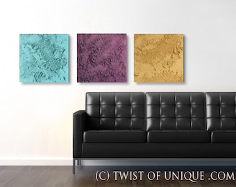 Industrial concrete/ ORIGINAL abstract painting / 3 set painting (15 x 15)/  Aqua, Purple, Yellow / Original Ready now painting