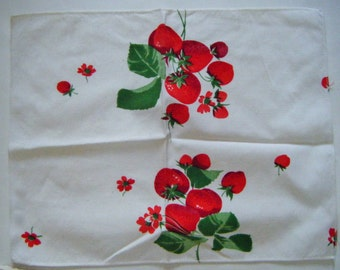 "Vintage Mid Century Strawberry Linen 12"" x 15"" Napkin or Doilie"