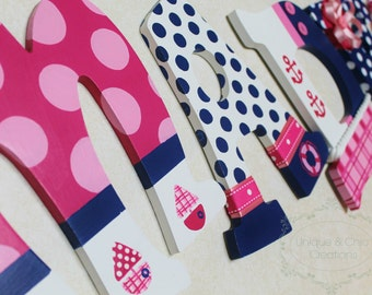 Pink and Navy Nautical Sailboat Themed Personalized Wooden Letters for Nursery, Bedroom, or Party