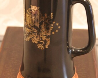 Large black glass and copper stein/ Mug with Crowned Lion with VIP Shield and 3 crowns