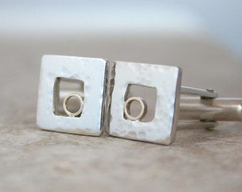 Cuff links 'Together' 9ct gold circle in sterling silver dappled square Bridegroom, Best Man, Valentine, UK, custom handmade in UK
