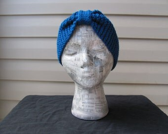 Garter Stitch Headband -- Blue