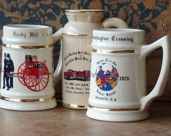 Vintage Porcelain Fireman Steins, Off White, Collectibles, Anniversary, Firehouse, New Jersey