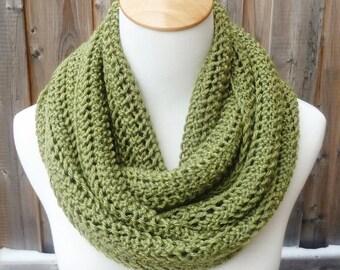 Merino Wool Infinity Scarf - Leaf Green Infinity Scarf - Green Infinity Scarf - Circle Scarf - Ready to Ship
