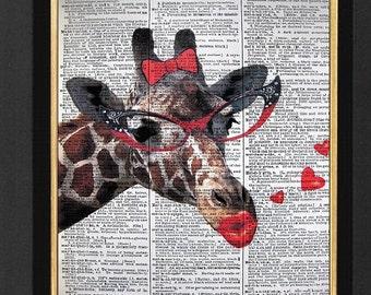 "Giraffe Print ""Fashionista Giraffe Print"" Mixed Media 8x10 Vintage Dictionary page, Dictionary art, Dictionary print, Giraffe Humor, Giraffe"