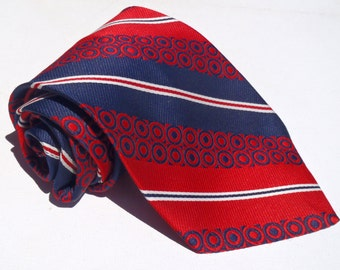 Vintage 1970s Wide Red White and Blue Polyester Tie Grenada