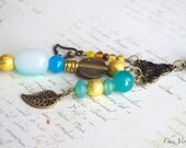 Boho Necklace, blue mint golden pendant, romantic jewelry