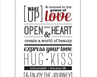Poster Wake Up and Connect to Love Manifesto by [LOVE TO BE]. Positive Quote + Messages. Inspirational Wall Art & Design