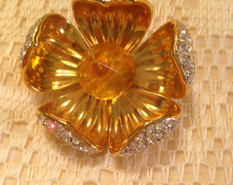 Joan Rivers Floral Brooch with Crystal Center