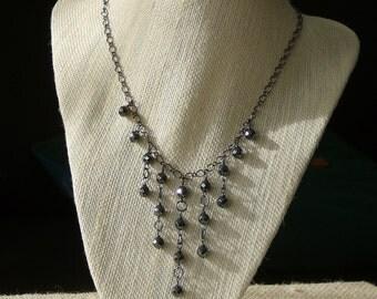 Hematite Dangle Bib Necklace