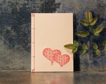 Two Hearts. Hand Embroidered A5 Notebook. Cute In Love Notepad. Beige Red Journal. Heart Notepad. Valentine's Journal. Red Hearts Notebook