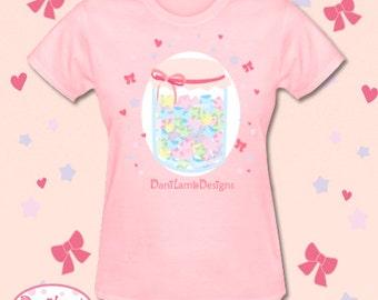 Kawaii Fairy Kei Shirt Pastel Star Jar Cutsew Konpeito Candy Sweets Shirt T-Shirt Size S Through 2XL