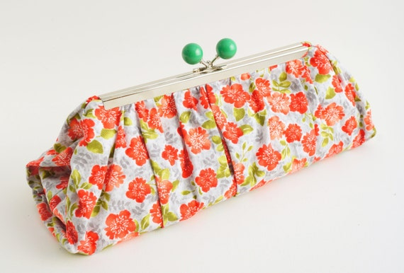 Vintage Inspired Red & Green Floral Print Clutch Handbag - Spring/Summer Wedding/Garden Party Purse - Ready to Ship