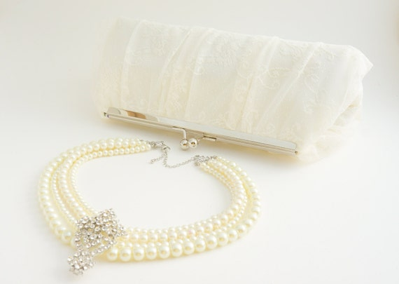 Gorgeous Ivory Lace Bridal Clutch - Wedding Handbag - Romantic Evening Bag -Includes Crossbody Chain - Custom Clutch - Made to Order