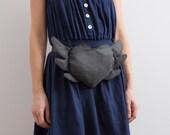 Belt Pouch Flying Heart Hip Bag Grey Bag Cute Bag Boho Bag Hipster Small Bag Evening Bag Party Bag Gift Idea Winged Heart Bag Romantic Bag