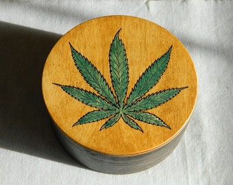 Cache for your Stash - Small round wooden box, handmade, marijuana leaf box, cannabis box, wooden jewelry box, brown wood box, pot stash box