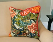 Aquamarine Chiang Mai Dragon Pillow Cover With Red Piping