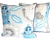 Two Designer Chinoiserie Pillow Covers with Piping, Blue and Grey Linen, Asian Design