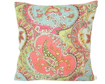 Coral and Blue Pickfair Paisley by Timothy Corrigan - Pillow Cover with Coral Linen Backing