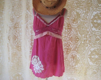 Hot pink empire waist top, summer tank, upcycled camisole, doily clothes, refashioned clothes, boho chic, shabby lace, medium