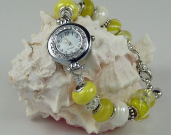 YOU Are My SUNSHINE:  European Style Large Hole Beaded Watch Bracelet