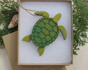 Wooden Sea Turtle Ornament laser cut - available Natural or Green