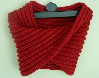 Red Neckwarmer, Chunky red knit snood,  Chunky brioche cowl, Infinity scarf, Brioche stitch pattern - ready to ship