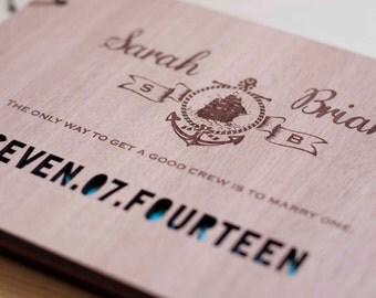 Wood Wedding Guest Book Wedding Guestbook Modern Custom Wedding Book Wedding Gift Book Keepsake Journal
