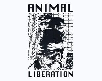 ANIMAL RIGHTS T-Shirt vegan t shirt cool tshirt vegetarian shirt punk Tee Shirt (also available on crewneck sweatshirts and hoodies) SM-5XL