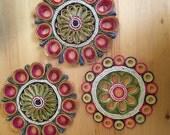 Vintage Rainbow Mandala Trivets Set of Three
